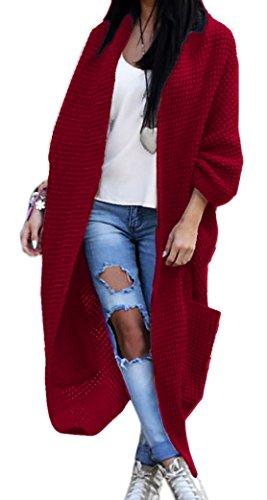 Damen Strickjacke Pullover Pulli Jacke Oversize Boho S M L XL (629) (One size, Weinrot)