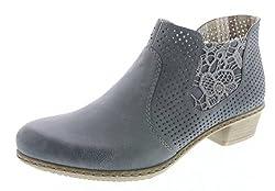 Rieker Damenschuhe M0757 Damen Kurzstiefel, Stiefeletten, Boots, Stiefel, Funktionsreißverschluss innen blau (Jeans/Denim / 14), EU 40
