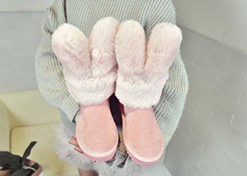Bello Signora Stivali A Metà Polpaccio Stivali Da Neve Scamosciati Stivali Di Cotone Casual All'Aperto Nuove Scarpe Di Cotone Invernale Pink