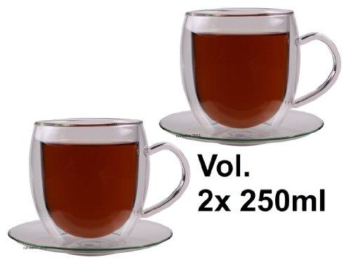 Feelino 2X 250ml Bullini doppelwandige Thermotassen mit Untersetzer - edle Glas-Teetassen/Kaffeetassen mit Schwebeeffekt, Henkel und Untersetzer