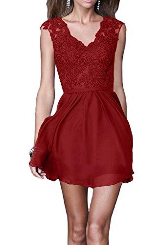 ivyd ressing robe robe a ligne mousseline & dentelle col V Demoiselle d'Honneur Soirée Prom Soirée Robe rouge bordeaux