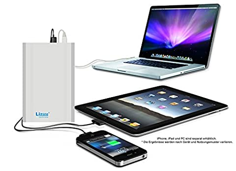 Lizone ® ultra pro super capacité portable batterie externe power bank chargeur secteur avec apple carnet de notes, ordinateur portable macBook air, macBook pro, macBook et powerbook/iBook, hP-compaq pavilion, mini, elifeBook, proBook-presario, artiste et iBM lenovo thinkPad g; et ideaPad, port uSB pour iPad air, iPad mini, iPad, iPhone, samsung galaxy nexus, mOTO, g, hTC, lG, etc -aluminium le corps macBook corps (pas original en plastique 18 mois de garantie) - 60000mAh