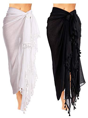 Boao 2 Stück Damen Strand Batikdruck Lange Sarong Badeanzug Vertuschen Wickeln Pareo mit Quaste für Damen Mädchen (Farbe Set 1) (Badeanzug Sarong Vertuschen)
