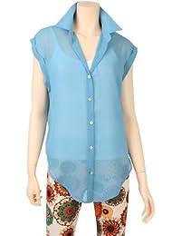 ililily Light Chiffon Color Loose Top Sleeveless Damen Thin Summer Blouse