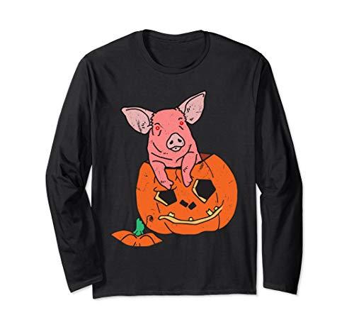 Halloween Creepy Pig Piglets Kürbis Jack O Laterne Langarmshirt