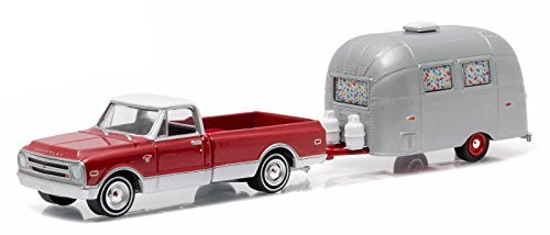 1968 Chevrolet C-10 and Airstream 16 Bambi Sport with Curtains Drawn Hitch & Tow Series 6 1/64 by Greenlight 32060B by Chevrolet