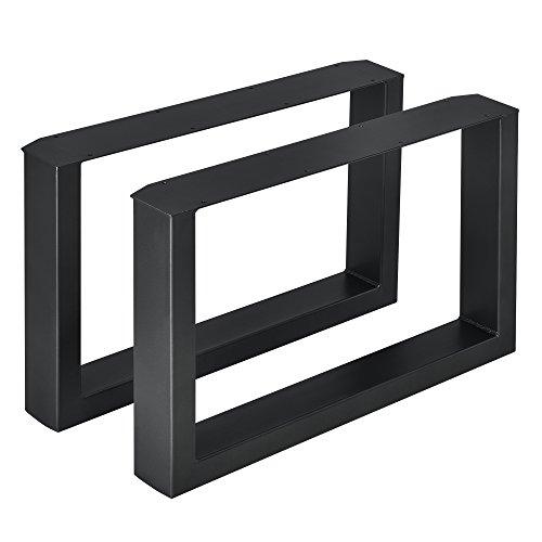 [en.casa]®] 2 x Conjunto de Patas de Mesa - Set de 2X Patas de Mesa - Metal - Patas de los Muebles - 64 x 40 cm - para Mesa de Centro - Armazón de Mesa - con protección para Suelo - Negro