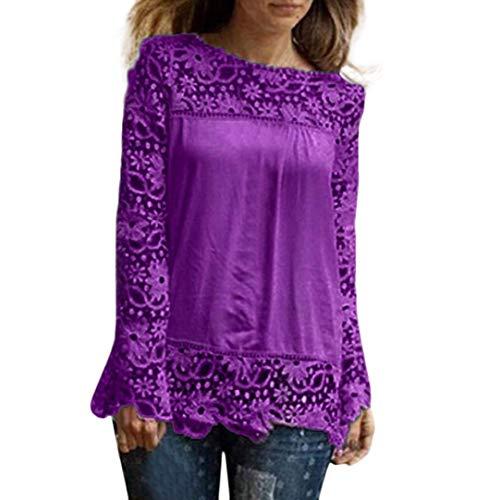 ESAILQ Mode Damen Langarm Shirt Casual Spitze Bluse Lose Baumwolle (7XL, Lila )