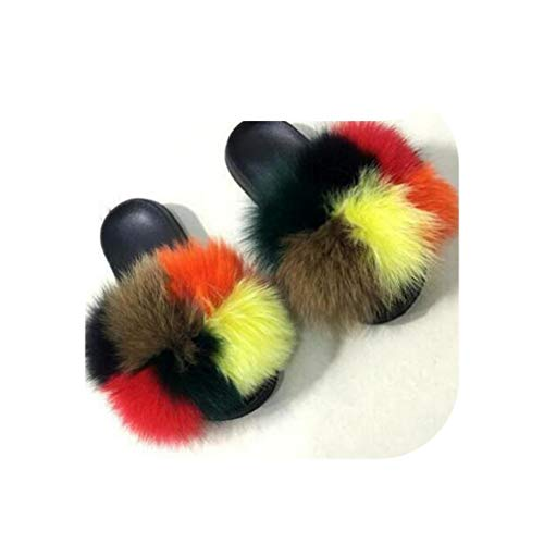 Women Fox Fur Slippers Multicolor Summer Slides Outdoor Female Furry Indoor Sandal
