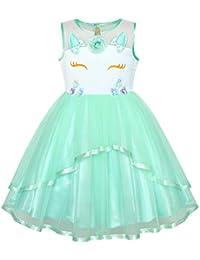 490d6a2a5822 Sunny Fashion Vestito Bambina Fiore Blu con Cintura Nozze Festa Damigella  d Onore 4-