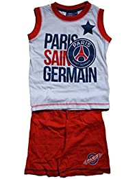 psg-ensemble paris saint germain short + debardeur-rouge et blanc-garçon
