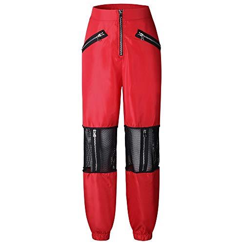Trisee Damen Cargo Hosen Spleißen Military Army Combat Pants Hollow Out Atmungsaktiv Sporthosen Hohe Taille Fitnesshose mit Reißverschluss Boyfriend Stylisch Gefüttert Trekkinghose