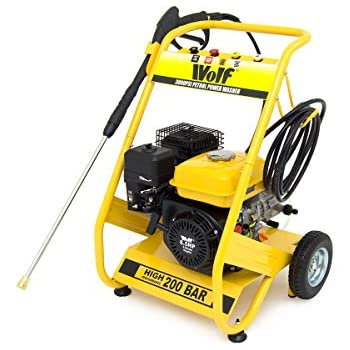 WOLF 200 BAR, 3000psi, 6.5HP Heavy Duty Petrol Driven Pressure Power Washer - 2 Year Warranty - Kit Includes Gun, Lance, 4 Quick Fit Nozzles and 6m High Pressure Hose - Full Spares and UK Service Back Up