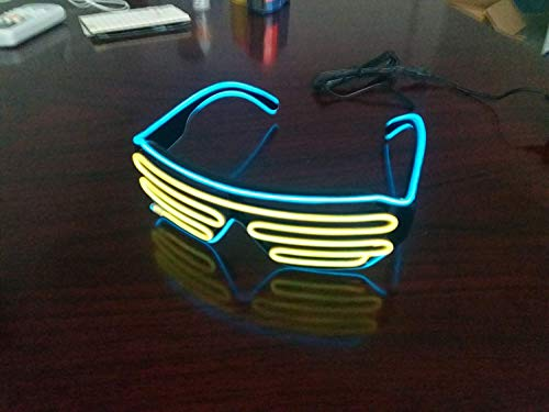LERWAY Party Brillen Spielzeug Zwei Farben EL Neon Draht Brille LED Partybrillen Sonnenbrille Halloween Weihnachtsdekoration Neujahr Club Bar Disco Kostüm Geburtstag Dekoration (Gelb+Hellblau)