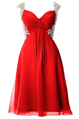 MACloth Women Lace Straps Chiffon Short Prom Dress Formal Party Evening Gown Rot