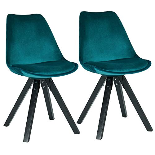Duhome Elegant Lifestyle Stuhl Esszimmerstühle Petrol Blau Grün Küchenstühle !2 er Set! Farbauswahl mit Holzbeinen Sitzkissen Esszimmerstuhl Retro Stoffbezug Samt TYP 518EM - Design, Essecke