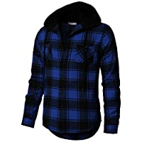 H2H Mens Casual Slim Fit V Neck Long Sleeve T Shirt with Hooded/Hoodies Tops Blue US 3XL/Asia 4XL (CMOJA0105)
