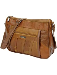 b72e87f77c98 ... Cross-Body Bags   Leather. Ladies  Womens Lorenz Double Top Shoulder   Hand Bag Soft Leather Nappa Zipped
