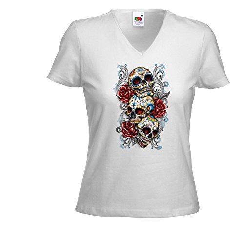 Rose Tattoo T-shirt (Mexican Damen T-Shirt Skulls and Roses weiß Rockabilly Tattoo Biker Gr. M)
