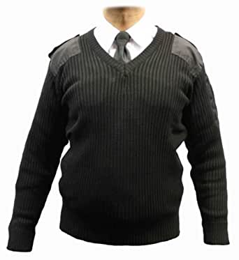 Adults Military Army Security Pullover Jumper Sweater V-Neck (S, Black)