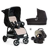 Hauck / Kombi Kinderwagen Set 3 in 1/ Rapid 4 Plus Trio Set / inkl. Babyschale / Kinderautositz Gruppe 0 für Isofix Base / klein zusammenklappbar / leicht / ab Geburt bis 25 kg, Caviar Beige (Beige)