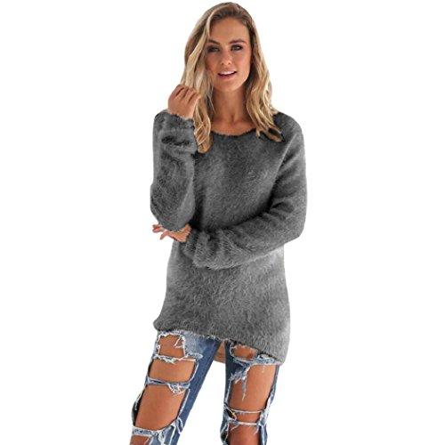n Pullover, Warm Einfarbig Lässige Unregelmäßig O-Ausschnitt Langarm Pullover Pullover Bluse (M, Grau) (Voller Bär Kostüm)