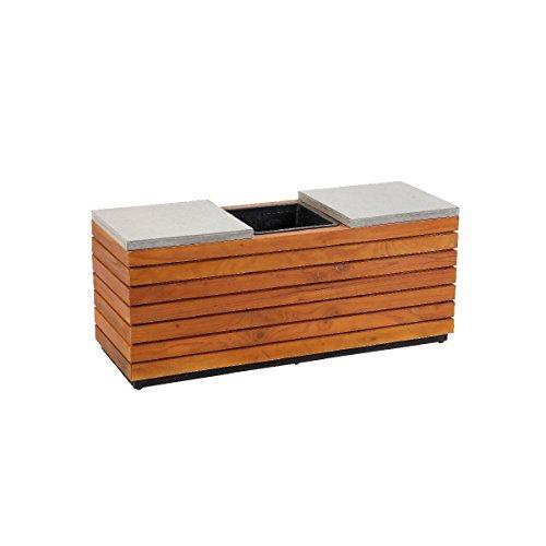 greemotion 130555 2 in 1 Sitzbank mit Pflanzkübel aus Holz, 2 Sitzer Gartenbank Akazie/Pflanzgefäß, Einsatz, Holzbank, integriertem Blumenkübel, Natur, 110 x 38 x 45 cm