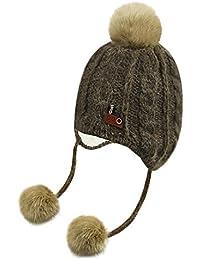 6d2ee4cd733 Enfants Chapeau Cagoule Hiver Bonnet chaud Tricot en Coton avec Pompon de  Fausse Fourrure Bonnet de
