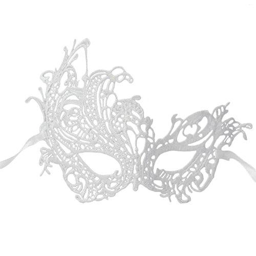 ace Masquerade Halbes Gesicht Augenmaske Ball Karneval Kostüm Halloween Party Prom weiß (Paare Cosplay Kostüme)