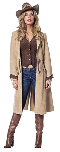 Karneval-Klamotten Cowgirl Kostüm Damen Cowboy Mantem mit Weste Western-Kostüm Rodeo Damen-Kostüm Größe 42