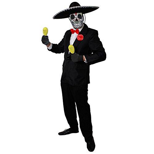 ILOVEFANCYDRESS Deluxe Day of The Death=mit MARRACAS =Tag der Toten KOSTÜM Verkleidung=Halloween=Anzug-XLarge+Gelbe ()