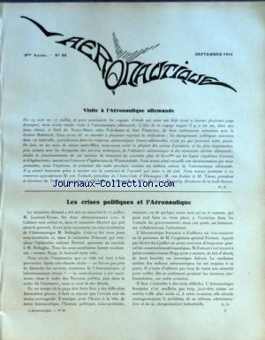 AERONAUTIQUE [No 88] du 01/09/1926 - VISITE A L'AERONAUTIQUE ALLEMANDE - LES CRISES POLITIQUES ET L'AERONAUTIQUE - LE CONCOURS D'HYDRAVIONS DE WARNEMUNDE
