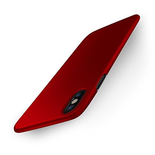 Easyacc iphone x custodia, [funziona la ricarica wireless] ultra sottile anti-graffio pc case rigido elegante grazie alla finitura matta della parte posteriore protettiva cover per iphone x - rosso