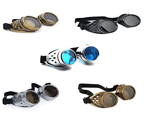 Ultra Premium Quality Steampunk Goggles Cyber Glasses Glasses Victorian Punk Style Welding Cosplay in a Gothic Style Goth Rustic Rivet Vintage Round Rave Novelty Cosplay Steampunk Goggles UK