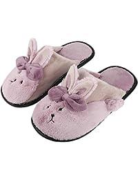 dab3c3123 Irsoe Women s Comfort Foam Pink Slippers Wool Slip-On House Suede Fur  Lined Anti
