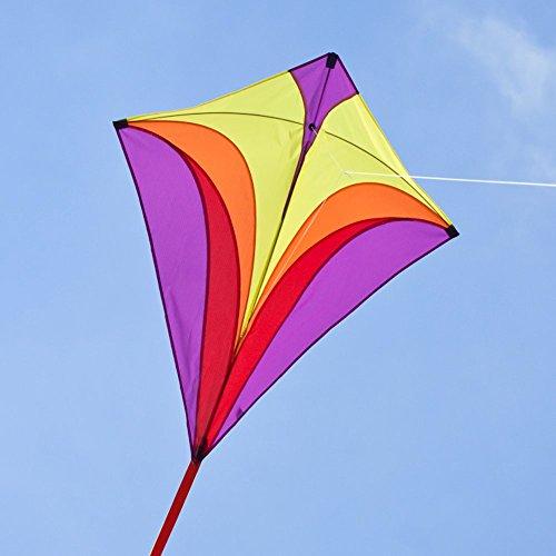 Kinderdrachen - Eddy XL PURPLE MUSTHAVE - Einleiner für Kinder ab 6 Jahren - Abmessung: 90x100cm - inkl. 100m Drachenschnur und Streifenschwänze