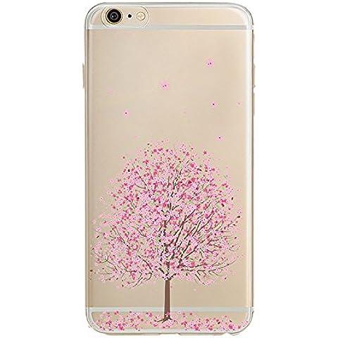 COOSA carcasa funda case bumper Caso claro suave del teléfono celular de la contraportada para iPhone 5 / 5s / 6 / 6S / 6 plus / 6s plus (flores de cerezo 6, iPhone