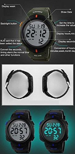 1031e66805da Reloj electrónico impermeable de 50m de multifunciones pulsera de moda con luces  para deportes exteriores para