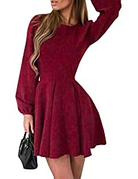 Annybar Damen Herbst Plissiertes Kleid Elegant Kurz A-Linie Empire Dress  Winter Party 2bb31ed97b