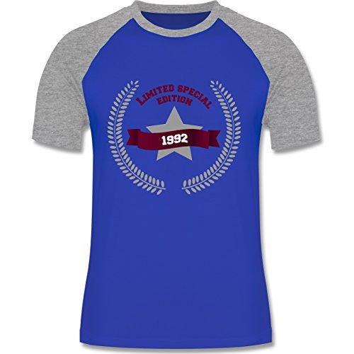 Geburtstag - 1992 Limited Special Edition - zweifarbiges Baseballshirt für Männer Royalblau/Grau meliert