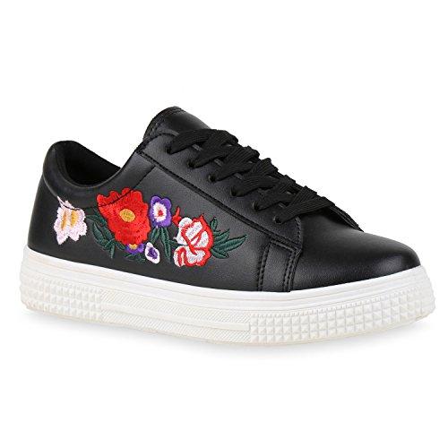 Damen Sneakers Blumen Stickereien Sportschuhe Schnürer Schwarz Blumenmuster