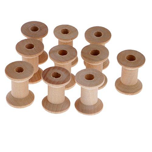 Sharplace 10 Stücke Natürliche Holz Leeren Faden Spulen Nähen Spulen Werkzeuge 28x21mm