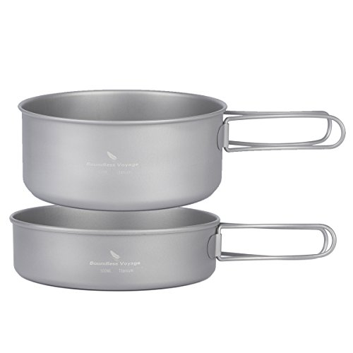 Boundless Voyage Titanium Lightweight 3-Piece Pot Pan Outdoor Camping Hiking Picnic Cookware Set Camping Equipment(Ti1576B,Pan,Big pot)