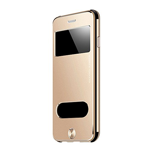 Oats Premium Case OKCS für iPhone 7 Schutzhülle Aluminium Vorder & Rückseite - Sichtfenster Hülle Hard Cover Flip Back Case Tasche - Silber Gold