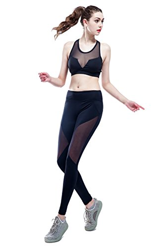 SOUTEAM Frauen Sport BH Hoch Bündchen Leggings Aktiv Gym Outfits Set, Schwarz, Medium (Aktiv-bh)
