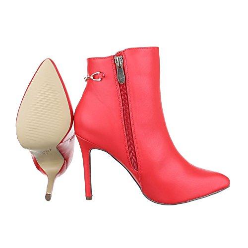 High Heel Stiefeletten Damen Schuhe Schlupfstiefel Pfennig-/Stilettoabsatz High Heels Reißverschluss Ital-Design Stiefeletten Rot