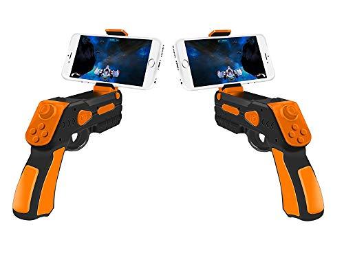 AR-Gun Pistola Realidad Aumentada Pack 2 Unidades Posibilidad Juego en Pareja App Propia con Gran Variedad de Juegos Augmented Reality Gun válida para Todos los iPhone Android Naranja