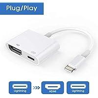Adaptador HDMI Compatible con iPhone/iPad, Adaptador de Cable HDMI, Adaptador AV AV Digital 1080P Pantalla de sincronización Conector HDMI con Puerto de Carga Reemplazo Compatible con iPhone y iPad