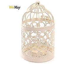 Jaula con portavelas de metal de WeiMay, ideal como decoración de casa o boda