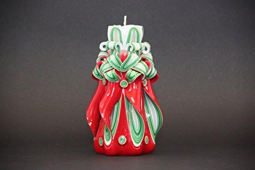 Candela decorativa per albero di natale - rosso, verde, biancho - idee regalo padrona di casa - evecandles